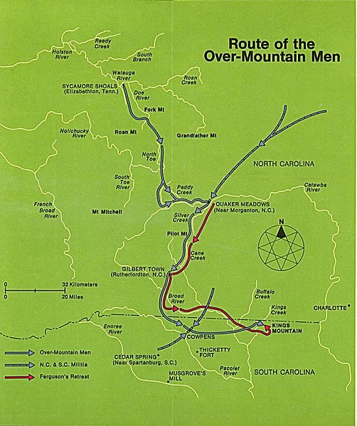 Route of Over-Mountain Men to the Battle of King's Mountain