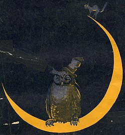 Owl and black cat on the crescent moon art detail, Alcoholic Blues Cover Von Tilze (cropped).jpg