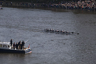 Women's Boat Race - Oxford Women's Blue Boat at The Championship Course finish in 2015