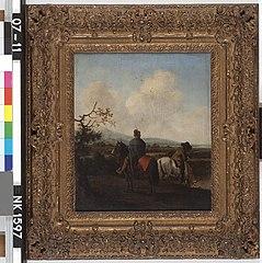 Landscape with two men on horseback