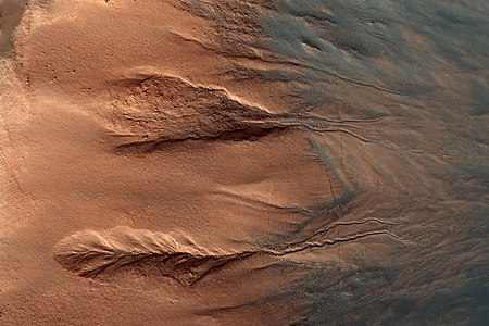Gullies in Galle crater, Mars.