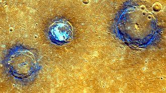 Caloris Planitia - Image: PIA19421 Mercury Craters Munch Sander Poe 20150416