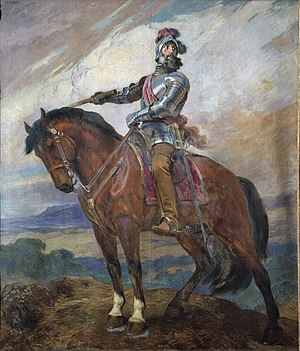 Government Palace (Peru) - Pizarro on horseback by Daniel Hernández. This picture once stood in the Pizarro Room