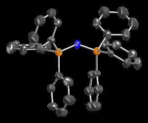 Bis(triphenylphosphine)iminium chloride - thermal ellipsoid model the bis(triphenylphosphine)iminium cation