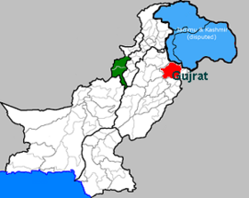 Le district de Gujrat (en rouge) au sein du Pakistan.