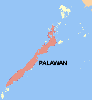 Palawan (island) - Map with Palawan Island highlighted in red