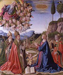Immaculée conception avec le Dieu le père en gloire et les saints Anselme, Augustin et Étienne