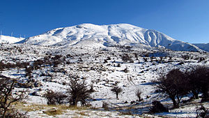 Panachaiko - View of the second highest peak, during winter