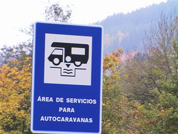 English: Spanish panel for indicate motorhome ...