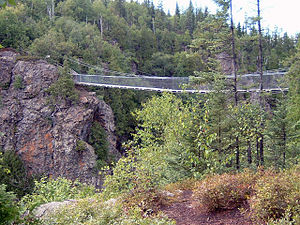 Aiguebelle National Park - Suspension Bridge over La Haie Lake