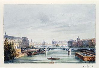 Pont du Carrousel - The former Pont du Carrousel seen from downriver in the 19th century; the Louvre is at the left.
