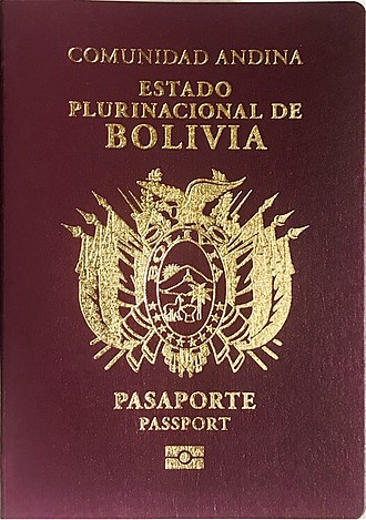 Bolivian passport - The front cover of a contemporary Bolivian Biometric Passport