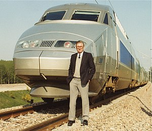 Very Fast Train Joint Venture - Paul Wild standing in front of a TGV in France, 1989