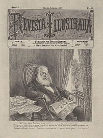 An old magazine cover illustration showing an elderly gentleman with a large white beard sleeping in his chair with newspapers scattered about.
