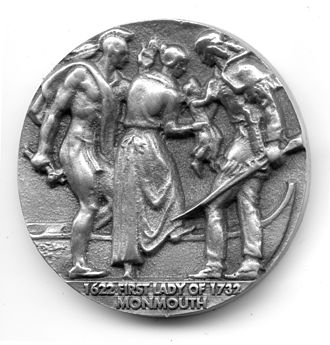 """Penelope Stout - Penelope Van Princis Stout Commemorative Coin - Verso - depicting the scene of Penelope's second rescue by an old Native chief after surviving her first series of ordeals, and finally """"rescued"""" to Fort Amsterdam, Penelope and her new husband return to Sandy Hook to build a home.  Here the old Native Chief warns Penelope to escape a planned attack."""