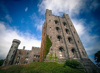 Penrhyn Castle - The donjon or keep (right) and a side view of the central block (left)