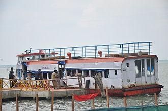 Kerala State Water Transport Department - SWTD ferry at Ashtamudi Lake, disembarking passengers