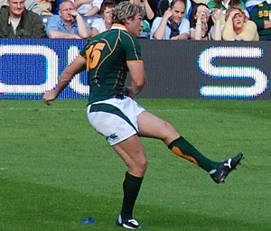 Rugby union in Namibia - Percy Montgomery, born in Walvis Bay, playing for the Springboks.