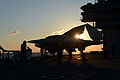 Personnel tow a U.S. Navy X-47B Unmanned Combat Air System demonstrator aircraft on the flight deck of the aircraft carrier USS George H.W. Bush (CVN 77) May 14, 2013, in the Atlantic Ocean 130514-N-FU443-102.jpg