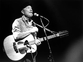Pete Seeger concert photo b&w
