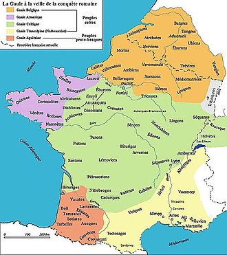 Belgae - According to Strabo; the Belgian tribes (in orange) including the Armoricani (in purple)