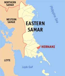 Map of Eastern Samar with Hernani highlighted