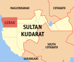 Map of Sultan Kudarat with Lebak highlighted