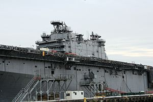 USS Saipan (LHA-2) - Saipan at Philadelphia Naval Inactive Ship Maintenance Facility in January 2008.
