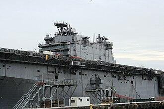 USS Saipan (LHA-2) - Saipan at Philadelphia Naval Inactive Ship Maintenance Facility in January 2008.