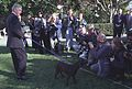 Photograph of President William Jefferson Clinton Introducing Buddy the Dog to the Press- 12-16-1997 (6461525373).jpg