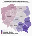 Pierwsza tura wyborów prezydenckich 2020, prawica vs. centrum i lewica, z procentami.png