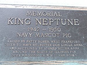 King Neptune (pig) - Memorial dedicated to the king at a rest stop near Anna, Illinois