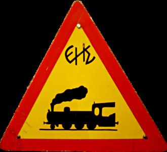 Piraeus-Perama light railway - Piraeus-Perama level crossing sign (1935)