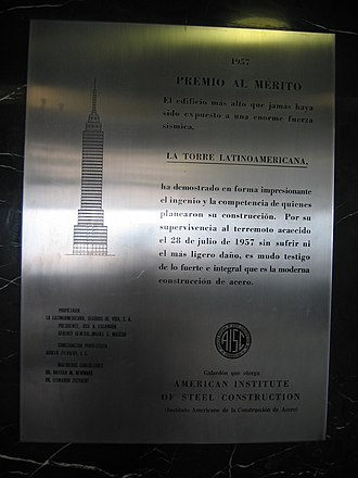 Torre Latinoamericana - Commemorative plaque for the 1957 earthquake