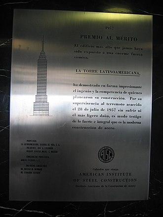 Torre Latinoamericana - Commemorative plaque for the 1957 earthquake