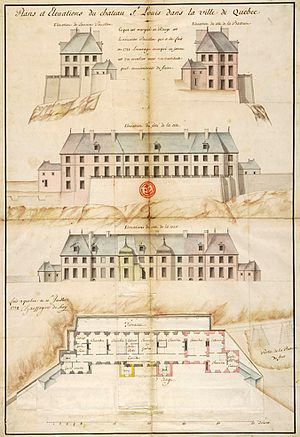Gaspard-Joseph Chaussegros de Léry (military engineer) - The Governor's Pavilion at the Château Saint-Louis, Quebec City, as designed by Léry, 1725