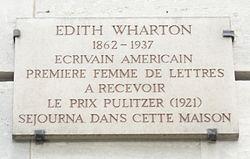 Plaque edith wharton, 3 place des %c3%89tats unis, paris 16