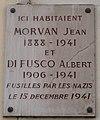 Plaque Jean Morvan Albert di Fusco rue de l'Église Paris.jpg