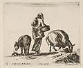 Plate 13- a peasant woman, seen from the back, holding a basket in center, a donkey to left and a horse with a pack on its back to right, from 'Diversi capricci' MET DP817411.jpg