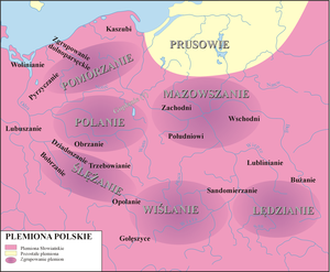 Lendians - Map showing an approximation location of Polish tribes. Lendians (Lędzianie) can be found in the bottom-right corner.