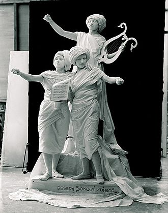 Sokol - Live statue of poetry for Sokol festival, 1911  photographed by Šechtl and Voseček