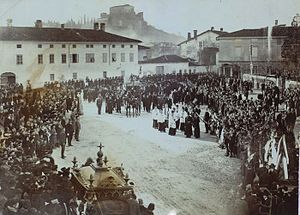 Princely County of Gorizia and Gradisca - Funeral of the Slovene poet Simon Gregorčič in Gorizia, 1906
