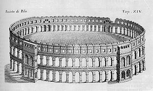Pula - Pula Arena in the year 1728
