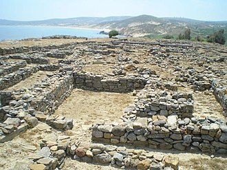 Lemnos - Building at the hill of Poliochne, dating from the Early Bronze Age.