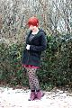 Polka Dot Tights, Maroon Ankle Boots, Black Coat, Striped Top, & a New Pixie Cut.jpg
