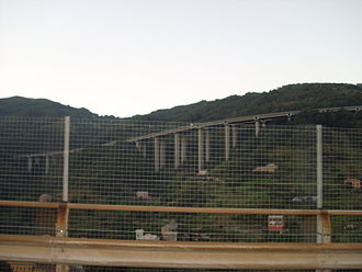 Autostrada A26 (Italy) - A raised section of the motorway in the Province of Genoa.