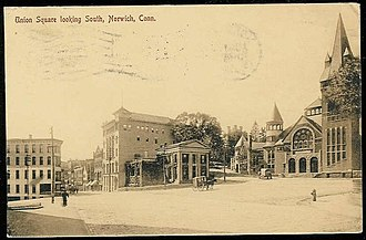 Norwich, Connecticut - Image: Postcard Norwich CT Union Square Looking South 1908