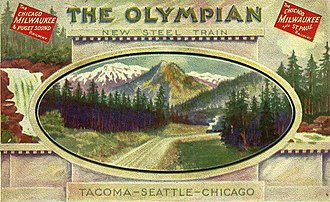 Olympian Hiawatha - 1911 promotional postcard for the new train, which had all steel passenger cars from its beginning.