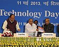 "Pranab Mukherjee and the Union Minister for Science & Technology and Earth Sciences, Shri S. Jaipal Reddy releasing the Science & Technology Report titled ""India Science and Technology"".jpg"