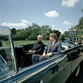 President John F. Kennedy and President Dr. Sarvepalli Radhakrishnan of India in Car Before Motorcade (5).jpg